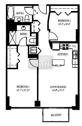 Floorplan: 1600 S INDIANA: LAKESIDE TOWER